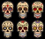 Cukrowy czaszka dzień nieboszczyka set Obrazy Royalty Free