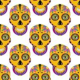 Cukrowy czaszka wzór z kwiecistym ornamentem wektor Zdjęcie Royalty Free
