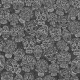 Cukrowych czaszek bezszwowy wzór Zdjęcie Royalty Free