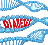 Cukrzycy słowa DNA pasemka Krwionośnej choroby Dziedziczna biologia Zdjęcia Stock