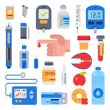 Cukrzycy wektorowa opieka medyczna cukrzyk i palec z krwią opuszczamy dla probierczej glikozy cukrowy ilustracyjnego ustawiająceg royalty ilustracja