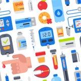 Cukrzycy wektorowa opieka medyczna cukrzyk i palec z krwią opuszczamy dla probierczej glikozy cukrowy ilustracyjnego ustawiająceg ilustracji