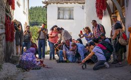 Free Cukuroren, Bilecik / Turkey -September 08 2019:  An Old Woman Array And Arrange Long Red Pepper To Hang And Dry. Many Photographer Royalty Free Stock Photography - 162408387