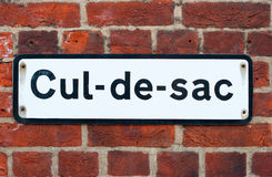 Cul-de-sac road sign on brick Stock Image