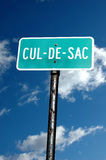 Cul-de-sac sign. A street sign with the word cul-de-sac Stock Photo