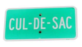 Cul-de-sac sign. Closeup of green Cul-de-sac sign isolated on white background Stock Photos