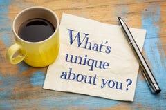 Cuál es único sobre usted pregunta Fotografía de archivo libre de regalías