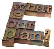 ¿Cuál es nuestro plan? Fotos de archivo
