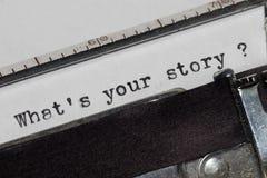 Cuál es su historia Imagen de archivo libre de regalías