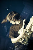 Culbuteur et guitare Image stock