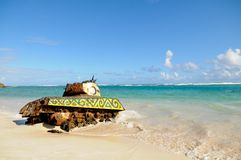 Culebra Beach Tank. Rusted tank on the Flamenco Beach at Culebra, Puerto Rico Stock Image