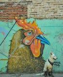 07/07/2018, Culiacan, Sinaloa, Mexico: A dog with a bandana sits in front of a rooster. 07/07/2018, Culiacan, Sinaloa, Mexico: A dog with a bandana sits in royalty free stock image