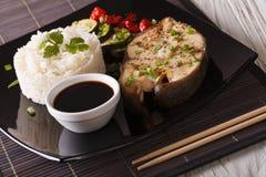 Culinária asiática: Peixes brancos do bife, arroz e close-up do molho horizo Imagem de Stock