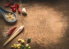 A culinária asiática tempera o gengibre desbastado ingredientes, pimentão, sementes de sésamo, alho, no fundo de madeira rústico, fotografia de stock royalty free