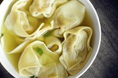 Culinária chinesa - tiro aéreo da sopa de Wontop Fotografia de Stock