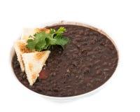 Culinária cubana: Sopa de feijões pretos fotografia de stock royalty free