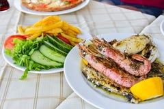 Culinária do grego da placa da mistura do marisco imagem de stock