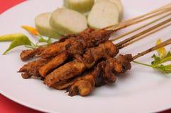 Culinária do indonésio de Satay da galinha Fotografia de Stock