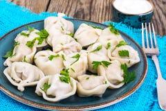 Culinária do russo As bolinhas de massa caseiros encheram a carne Imagens de Stock