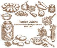 Culinária do russo, ingredientes do rassolnik, esboço do vetor Imagem de Stock