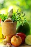 Culinária dos utensílios e dos ingredientes. Fotos de Stock