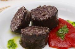 Culinária espanhola. Morcilla de Burgos. Chouriço de sangue. fotografia de stock royalty free