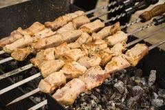 Culinária Georgian kebabs Carne cozinhada nos carvões Fritando a carne Alimento saboroso Soldador e espetos Alimento fora imagens de stock
