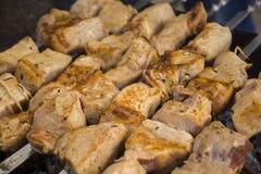 Culinária Georgian kebabs Carne cozinhada nos carvões Fritando a carne Alimento saboroso Soldador e espetos Alimento fora fotografia de stock royalty free
