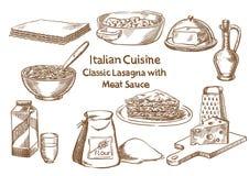 Culinária italiana Lasanhas clássicas com os ingredientes do sause da carne Imagens de Stock