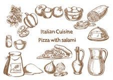 Culinária italiana Pizza com ingredientes do salame Imagens de Stock