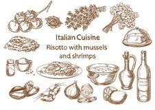 Culinária italiana risoto com mexilhões e ingredientes dos camarões Fotos de Stock Royalty Free
