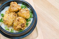 Culinária japonesa - Fried Pork com o ovo no arroz Katsudon - o japonês panou a costoleta fritada da carne de porco na tabela de  imagem de stock royalty free