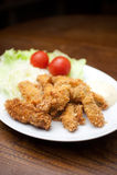 Culinária japonesa, kakifurai (ostras fritadas) Fotografia de Stock