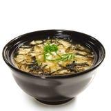 Culinária japonesa - sopa de Miso fotografia de stock royalty free