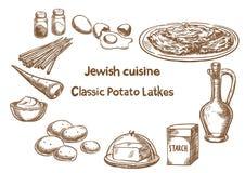 Culinária judaica Ingredientes clássicos dos latkes da batata Imagem de Stock Royalty Free