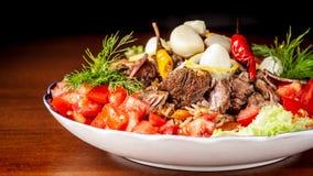 Culinária oriental do Uzbeque tradicional Pilau de Samarkand da carne de carneiro fotografia de stock royalty free