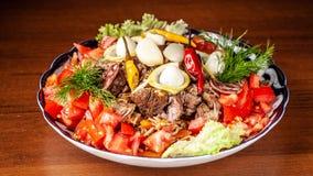 Culinária oriental do Uzbeque tradicional Pilau de Samarkand da carne de carneiro fotografia de stock