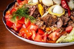 Culinária oriental do Uzbeque tradicional Pilau de Samarkand da carne de carneiro foto de stock royalty free