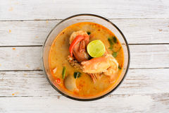 Culinária tailandesa Tom Yum Goong fotografia de stock