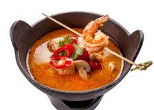 Culin?ria tradicional do alimento da sopa picante de Tom Yum Goong em Tail?ndia foto de stock royalty free
