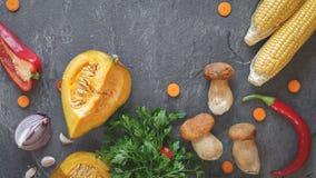 Culinaire achtergrond met groenten en paddestoelen Stock Foto's