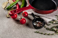 Culinaire achtergrond met lege pan Stock Fotografie