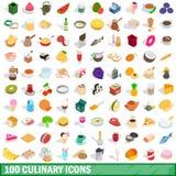 100 culinaire geplaatste pictogrammen, isometrische 3d stijl Stock Fotografie