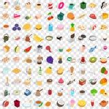 100 culinaire geplaatste pictogrammen, isometrische 3d stijl Royalty-vrije Stock Foto's