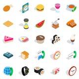 Culinaire geplaatste pictogrammen, isometrische stijl Royalty-vrije Stock Afbeeldingen