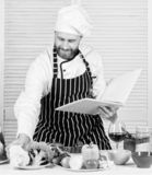 Culinary arts concept. Man learn recipe. Improve cooking skill. Book family recipes. Ultimate cooking guide for. Beginners. According to recipe. Man bearded royalty free stock image