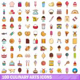 100 culinary arts icons set, cartoon style. 100 culinary arts icons set in cartoon style for any design vector illustration Royalty Free Stock Image