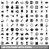 100 culinary arts icons set, simple style Stock Images