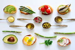 Culinary background with canapes Royalty Free Stock Photo