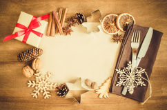 Culinary Background. Christmas Postcard with Empty Paper. Royalty Free Stock Images